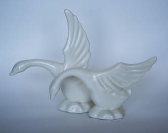 vintage art deco ceramic birds or swans set of two