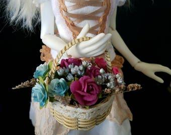 Moonlit Woods Basket of flowers for MSD, Gene, Tonner, SD BJD, Pullip, Blythe