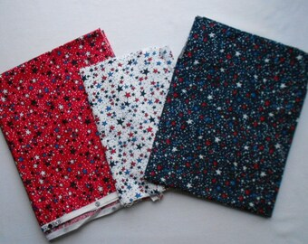 Cotton quilting fabric - Red, White and Blue Stars Cotton Fabric