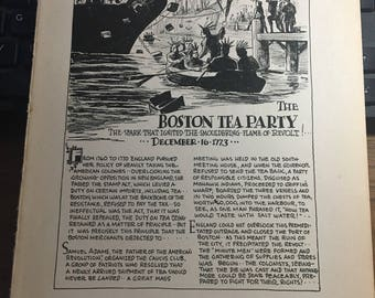 Great moments in history book page The boston tea party.