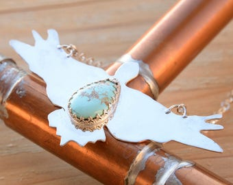 Eagle In Flight Necklace Made from Sterling Silver and Turquoise Gemstone, Sterling Silver Chain,  Turquoise from Pilot Mountain Nevada