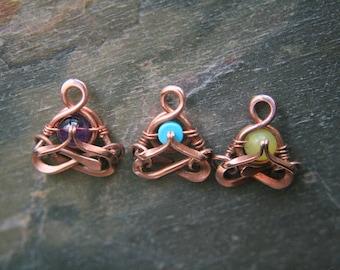 RESERVED for Robyn - Namaste yoga pendant, Little Yogi,  Heart Space,  Aum, meditation, mudra,chakra, Lemurian Diamond, Bibi, gifts