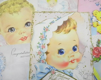 Welcome Baby Girl Vintage Used Estate Greeting Cards Lot (16) Each Assorted Darling Sweet Charming