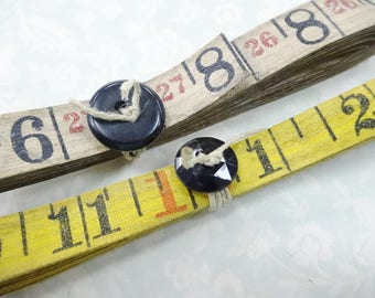 Aged Old Heavy Oil Linen Cloth Measuring Tape 6 Yards Total  Industrial Numbers Craft Destash Decoration Ribbon