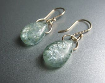 Teal Kyanite Drops Solid 14k Gold Earrings