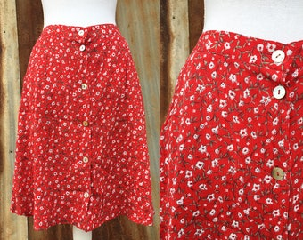 Red Floral High-Waisted Skirt