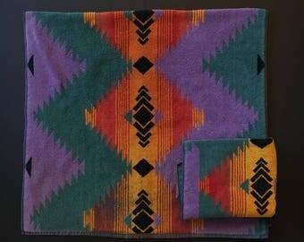 Vtg Ralph Lauren Bath and Hand Towel Set- Southwestern Design