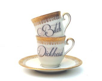 SALE - Imperfect - Bitch and Dickhead Espresso Cup Set