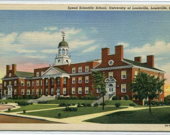 Speed Scientific School University of Louisville Kentucky linen postcard