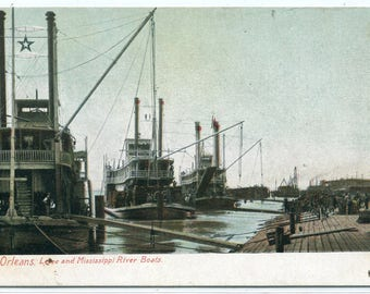 Mississippi River Paddle Steamers Levee New Orleans Louisiana 1910c postcard