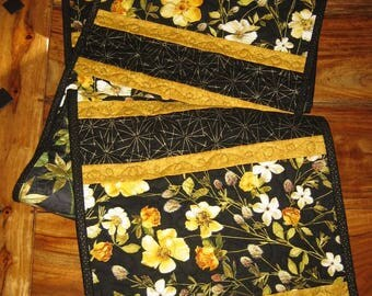 "Quilted Table Runner, Black Gold Yellow Roses Flowers , 13.5 x 68"" Summer Fall Long Reversible by TahoeQuilts Handmade Free Shipping"