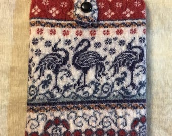 Dancing crane ipad case felt messenger bag beautiful kntit pattern Upcycled Sweater blue red color  Messenger Bag thick wool