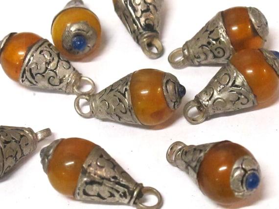 1 Pendant - Small size Tibetan honey copal resin drop pendant with silver color floral bail design -  PM568B