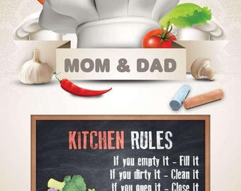 Kitchen Rules Digital Personalized PDF Download Posters