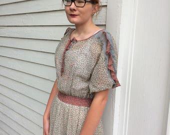 Vintage 70s Sheer Dress Summer Print Short Sleeve Act I S