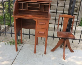 Antique Child's  Roll Top Desk and Chair