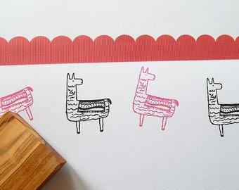 Friendly Alpaca Olive Wood Stamp