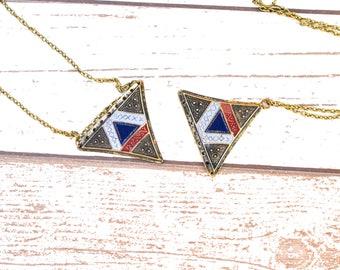 Bronze Triangle Pendant Necklace - Geometric Triangle Bronze Necklace - Bronze Pendant Geometric Necklace - Recycled Minimalist Necklace