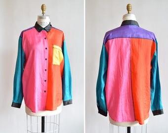 Vintage 1980s COLORBLOCK silk blouse