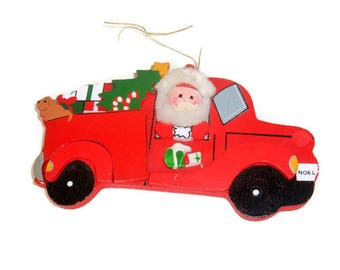 Santa Vintage Wood Christmas Ornament, Baby Hats Ent 1986 Kurt Adler Red Truck Christmas Decoration made in Taiwan Xmas kitsch