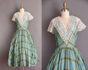 vintage 1950s crochet lace green cotton plaid full skirt dress by LR Sammuel. 50s vintage dress