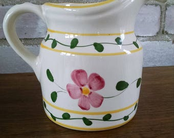 Portuguese art pottery small vintage pitcher white