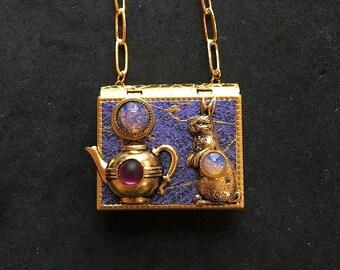 Rabbit and Teapot - miniature book necklace