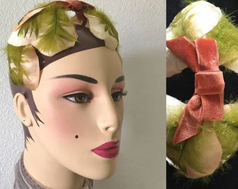 Vintage 50s Fascinator Hat Headband, Petals, Feathers, Velvet Bow