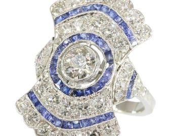 Center diamond blue sapphire ring platinum old European cut diamonds 2.52ct Art Deco engagement ring vintage jewelry