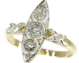 Three diamond engagement ring marquise setting 14k yellow gold old European cut diamonds .64ct rose cut diamonds vintage ring
