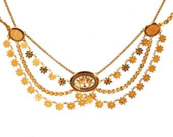 French antique gold necklace enamel collier esclave
