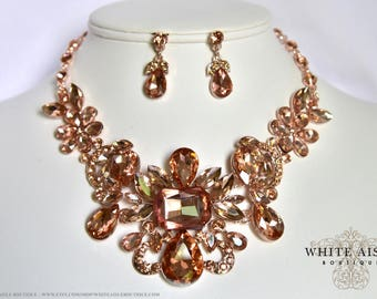 Rose Gold Peach Bridal Jewelry Set Elegant Blush Crystal Wedding Necklace Earrings Prom Evening Pageant Jewelry