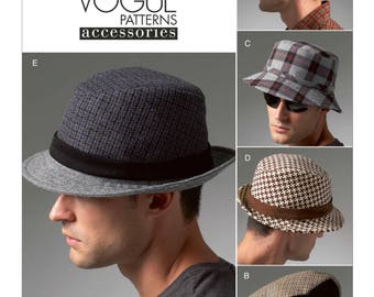 Vogue Men's Hat Pattern V8869 - Men's Lined Hats in Five Variations - Vogue Men's Accessories Patterns - All Sizes Included