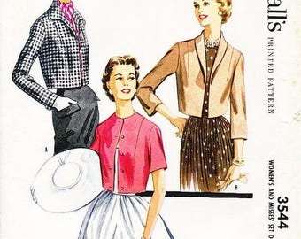 "On Sale SZ 12/Bust 32"" - Vintage 1950s Jacket Pattern - McCall's 3544 -  Misses' Cropped Bolero Jacket in Three Variations"