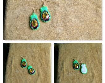 Neon Bow Dangle Earrings