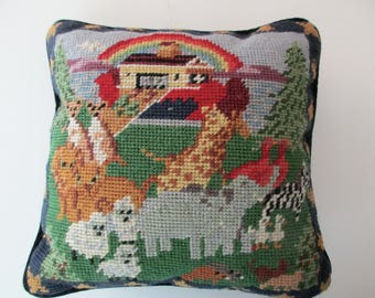 Vintage NEEDLEPOINT pillow with Noah's Ark -square, throw pillow