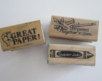 3 rubber stamps - TEACHER stamps, SCHOOL stamps - great paper, super job - used rubber stamps