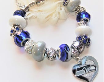 Seattle Seahawks European Charm Bracelet in Blue Gray and White, Pro Football Jewelry, Seattle Seahawk Bling