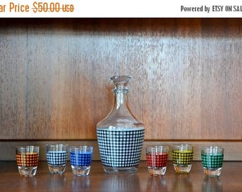 SALE 25% OFF vintage 1960s verrerie cristallere d'arques hounds-tooth style french cocktail set
