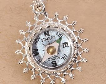 Sterling Silver Compass, Sterling Silver Compass Necklace, Sterling Silver Compass Pendant, Wedding Jewelry