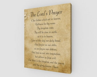 The Lord's Prayer, 16x20 Canvas, Canvas Print, Canvas Wall Hanging, Prayer, Our Father which art in heaven, Religious, Home Decor
