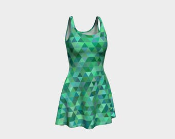 Tri Teal Green Skater Dress | Size XS S M L XL | Bold Design Pattern | Party Dancing Ice Roller Skating | Short Fitted Sleeveless Mini Dress