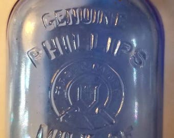 Vintage Apothecary Pharmacy Cobalt Blue Embossed Genuine Phillips Milk of Magnesia Tablets Bottle