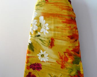 Ironing Board Cover - mustard yellow hot pink white burgundy blooms beautiful