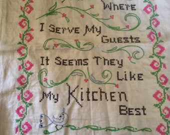 Cross stitch kitchen Linen hand embroidered embroidery Blue Pink Green Birds