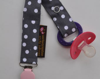 Gender Neutral  Soother Clip in Grey Gray White Polka Dot and Soft Pink Clip