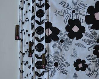 DezignzbyLiz Baby Girl Minky Burp Cloth Set of 3 in Black and White Pink Flowers
