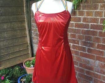 Red Metallic Mini Dress