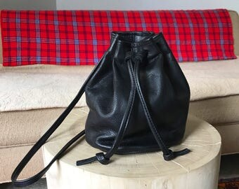 summer sale black leather bucket bag. summer hobo bag.  black leather pouch. leather cinch sack. black handbag
