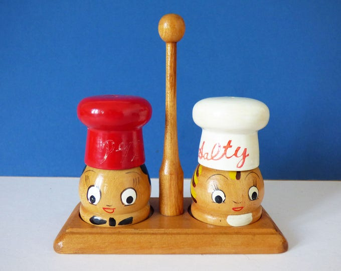 Wooden salt and pepper set Vintage MCM